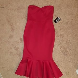 NWT Express Strapless Red Scuba Dress